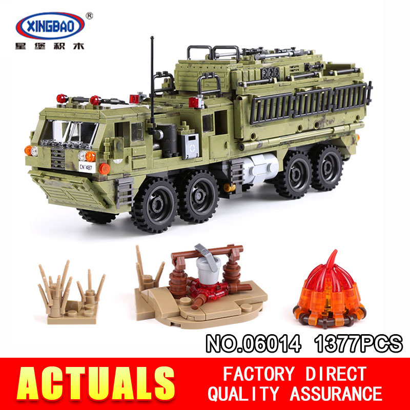 XingBao 06014 Genuine 1377Pcs Military Series The Scorpion Heavy Truck Set Building Blocks Bricks DIY Toys for Children Gifts xingbao 06009 military series the extreme snowmobiling sets legoinglys building nano blocks bricks toys for children kids