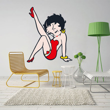 Betty Boop Full Color Wall Stickers Beautiful Girl Decals Mural Design Removable Wallpaper Bedroom Living Room Home Decoration