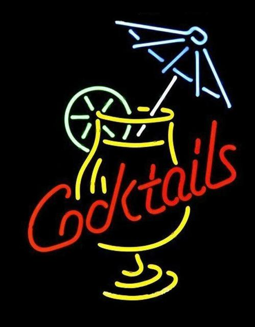 Custom Cocktails And Martini Umbrella Glass Neon Light Sign Beer Bar