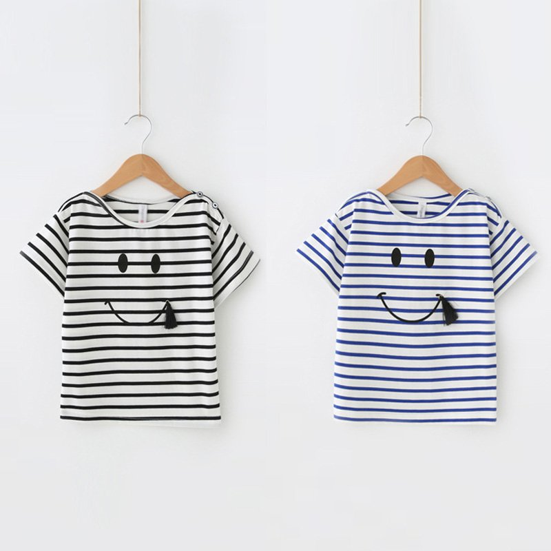 Family Matching Outfits Mother And Daughter Striped Smile Face Outfits Clothing Short Sleeve T-shirts Tops Kids Girl Tee Shirts