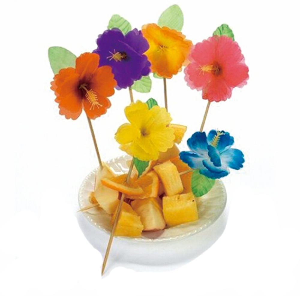 144pcs Hibiscus Flowers Bamboo Food Picks Fruit Fork Sticks Buffet