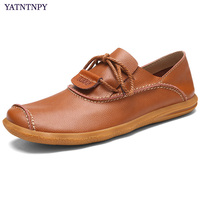 YATNTNPY Brand Men Shoes High Quality Genuine Cow Leather Shoes For Man Stylish Manual Spadrilles Casual