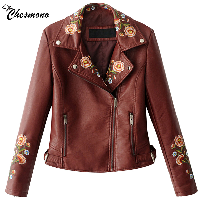 chesmono Embroidery   basic     jacket   coat outerwear & coats Black faux leather   jacket   women Short spring bomber   jacket   female coat