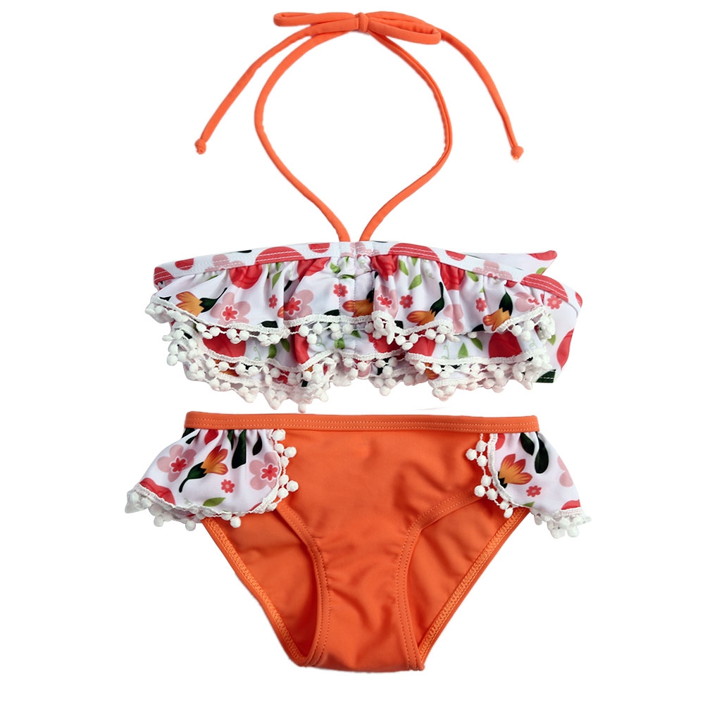 Sommar modeflickor Orange Blommatryckt Bikini Tvåstyvt BH Underbyxor - Babykläder