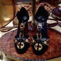 Gorgeous 2017 Spring Black Suede Rhinestone Metal Decoration Women Pumps Crystal Embellished T Strap High Heels