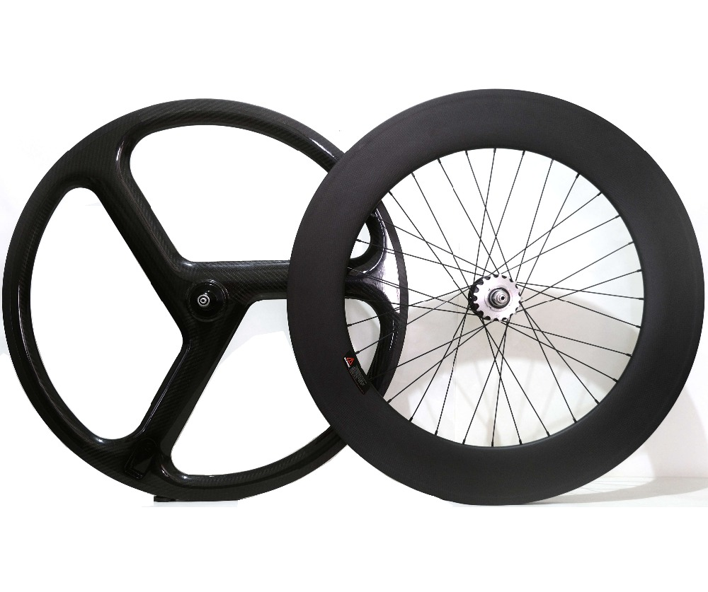 Full carbon 700C front tri-spoke track wheels 45mm carbon wheel rear 88mm fixed gear carbon wheelset for track bicycle carbon tri spoke wheels oem decals front 700c road bike rear wheel bicycle 3 spokes fixed gear track cycling clincher wheelsets