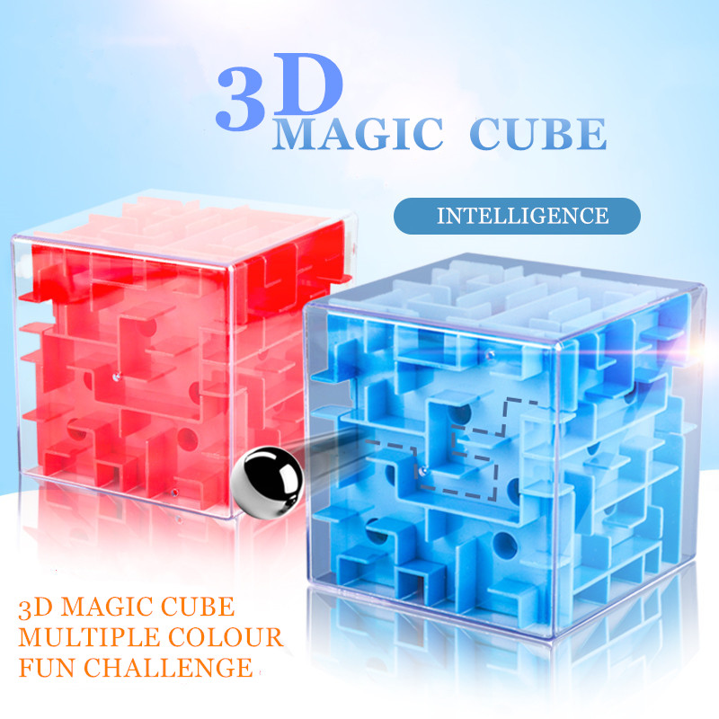 Intellect Magic Cube Box 3D Cube Puzzles Games Steel Ball Maze Toy Hand Fun Balance Challenge Game Toys For Kids Gift