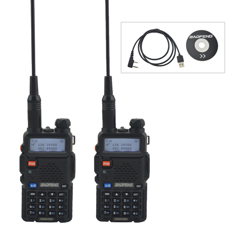 2PCS NEW Tier II BAOFENG DM 5R Dual Band Analog & DMR Digital Tier I & II FM Walkie Talkie with 1pcs USB Programming cable - 1