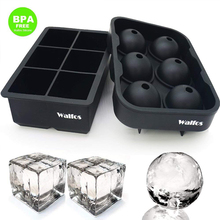 WALFOS Whiskey Cocktail Big Ice Cube Tray 6 Holes Form Round Shaped Ball Maker Silicone Mold Bar