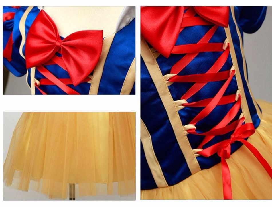 Детский костюм принцессы Белоснежки с накидкой на голову, детское маскарадное платье Mardi Gras для девочек на Хэллоуин, Карнавальная одежда