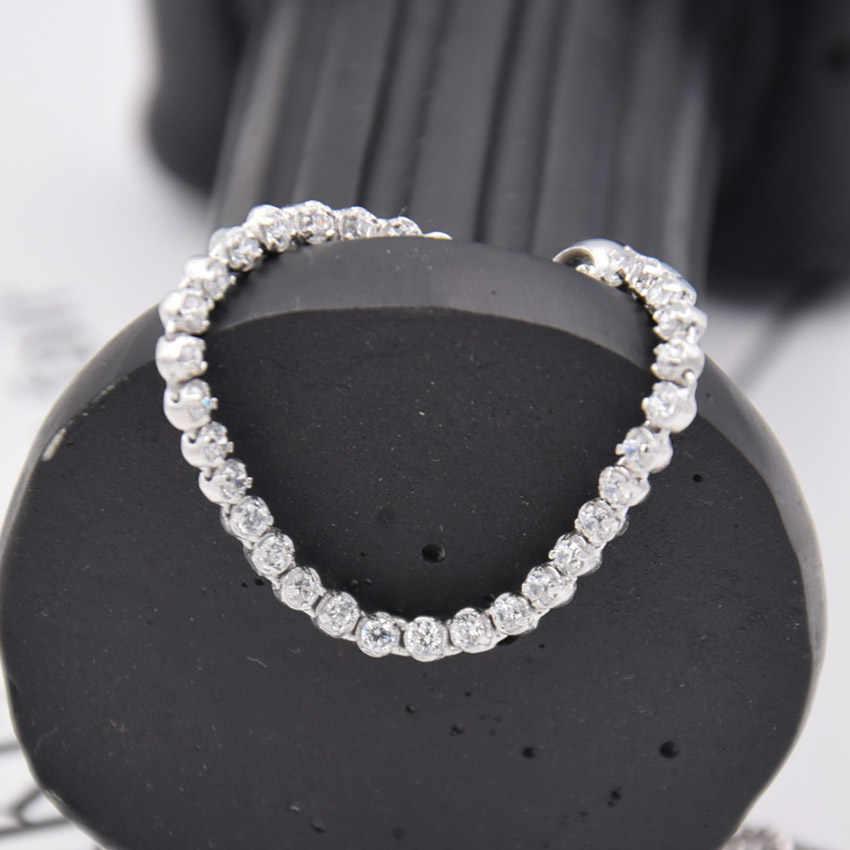 6087f5d92 ... New 925 Sterling Silver Bracelet Classic Tennis Sparkling Strand Adjust  Bracelet Bangle Fit Women Bead Charm ...