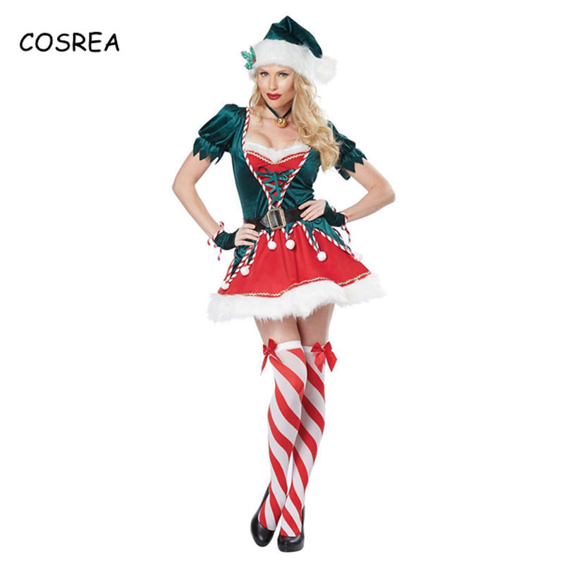 Christmas Cosplay Costume Green Elf Santa Claus Fancy Dress Xmas Suit Party Halloween Deluxe Outfit for Couples Adult Women