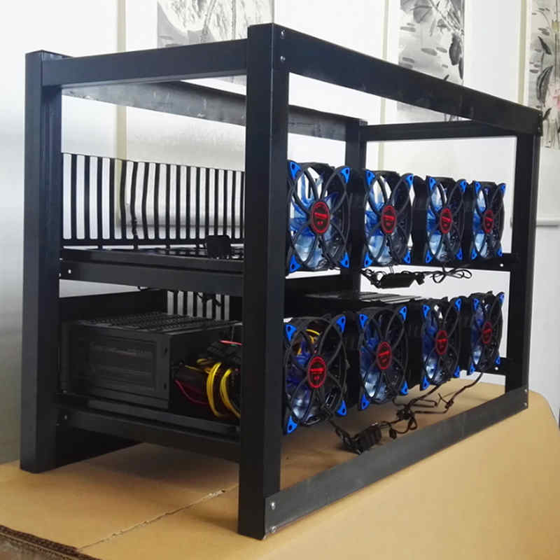 8 GPU Crypto Coin Open Air Aluminum Frame Case With 12 Fan Mining Miner Frame Rig Stackable Case Outdoor Frame ETH/ZEC/BTH