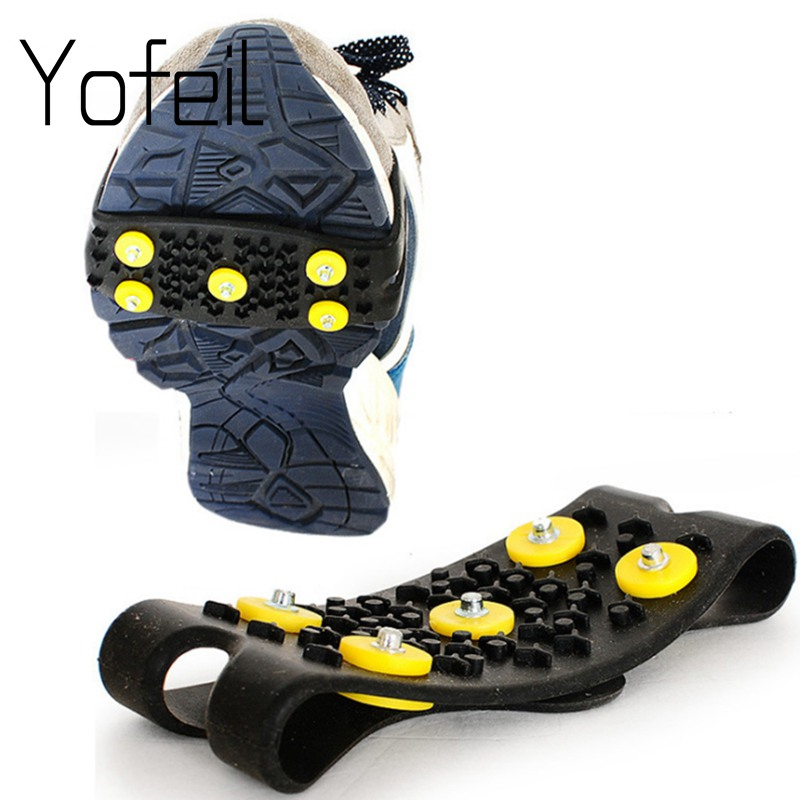 Yofeil Elastic Magic Spike Shoes Anti Slip Ice Gripper With Crampon Walk On Ice Snow For Mountaineering Climbing In Winter