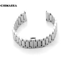 Chimaera 22mm srebrny ze stali nierdzewnej watchband zegarek pasek z wdrażania klamra dla moto 360 do pebble czas dla lg g zegarek