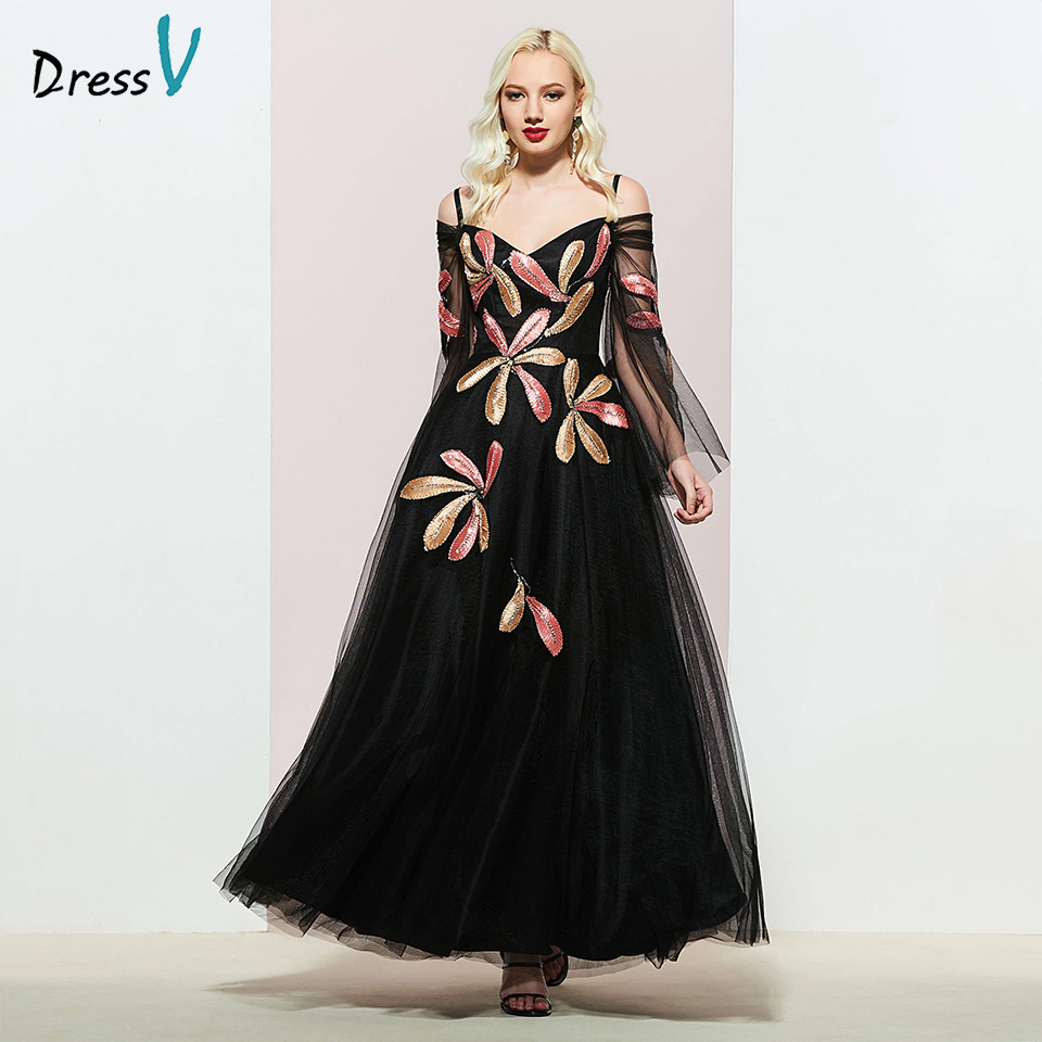 Dressv Black Appliques Evening Dress A Line Elegant Long Sleeves Floor-length Wedding Party Formal Dress Evening Dresses