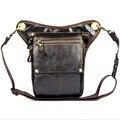 Cintura Coxa Perna Queda Saco Bolsa de Viagem de Couro Genuíno dos homens de Equitação Da Motocicleta Ombro Mensageiro Bloco de Fanny