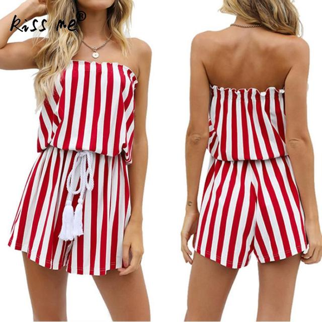 f70b09f000baa Polyester Women Romper 2018 Designer White And Red Striped Short Off  Shoulder Tops Fashion Ladies Summer Beach Backless Jumpsuit