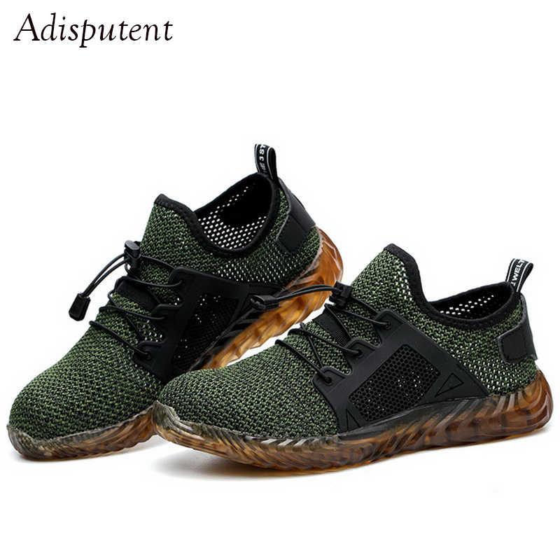 Heflashor dropshipping homem e mulher aço toe botas de segurança ar indestrutível ryder sapatos de trabalho leve tênis respirável sapatos