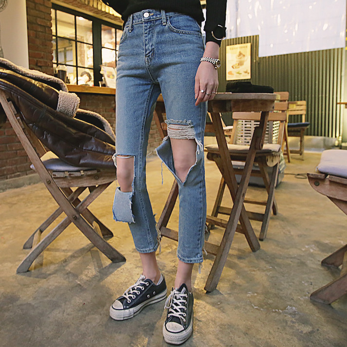 2017 Big Hole Jeans Female Ankle Length Trousers All Match Light Blue Denim Pants BF 3