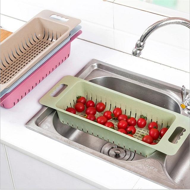 Kitchen Sink Dish Drainer Basket Fruits Vegetables Washing Drying Rack Wheatstraw Pp Home Organizer