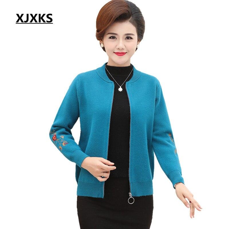 XJXKS Women s spring and autumn long sleeved knit cardigan sweater big yards S 5XL zipper