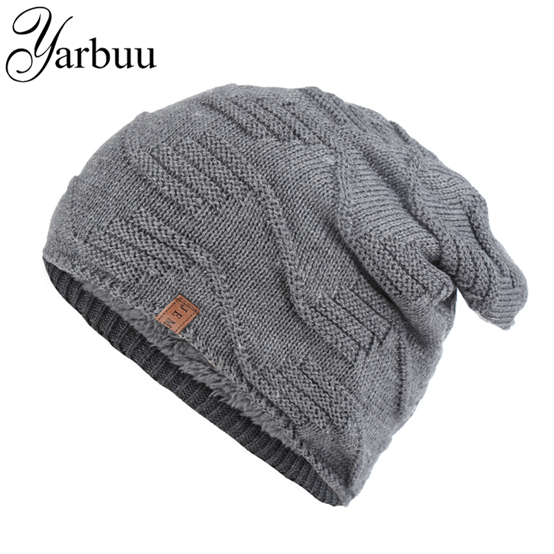 [YARBUU] Knitted hat 2016 winter hats for men Solid color Wave stripe head cap Warm cold ski cap new fashion hat cap