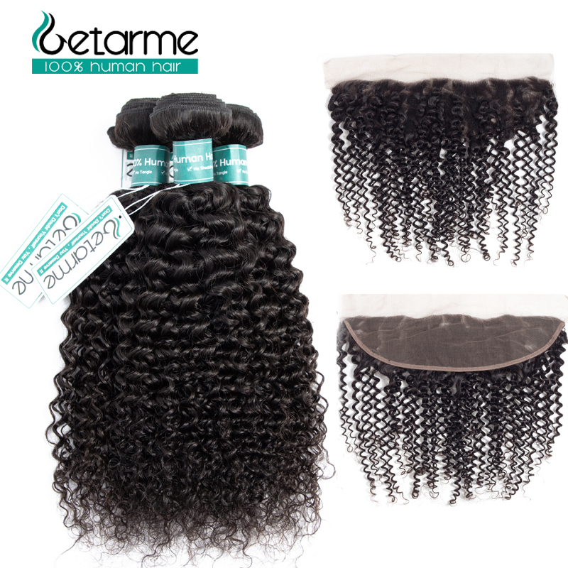 Human Hair Bundles With Frontal Non Remy Malaysian Kinky Curly Human Hair Bundles With Lace Frontal