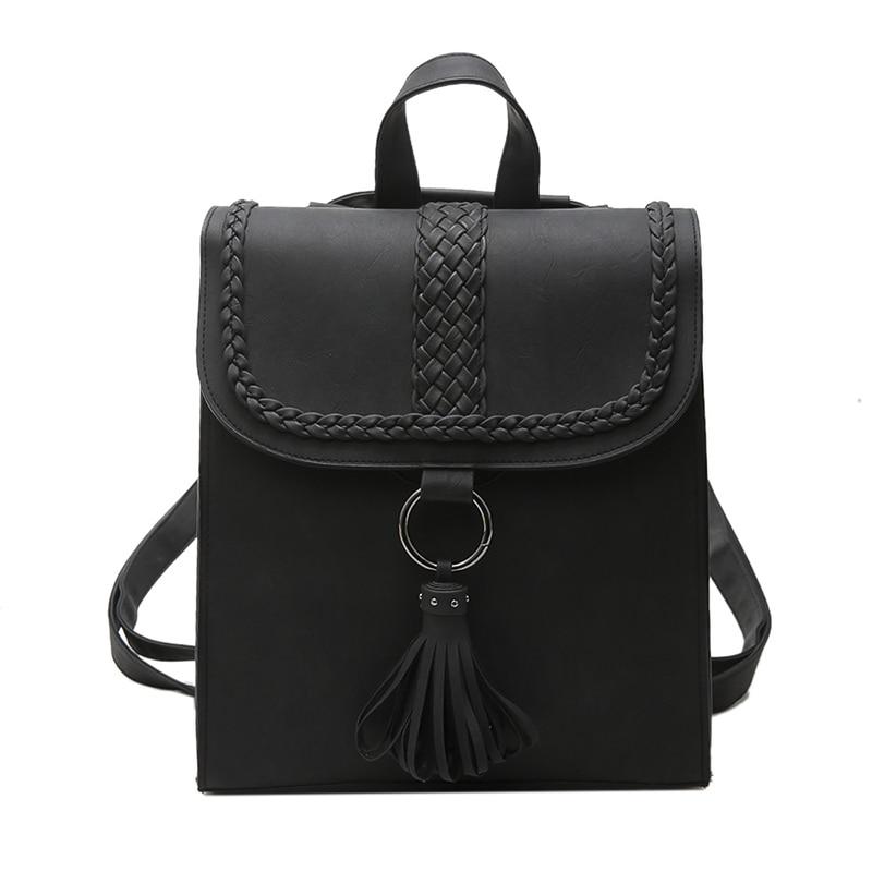 2017 Preppy Style Women Backpack Teenage Girls Pu Leather Backpack Female SchoolBag Machila Femanina Tassel Backpacks Travel Bag (27)