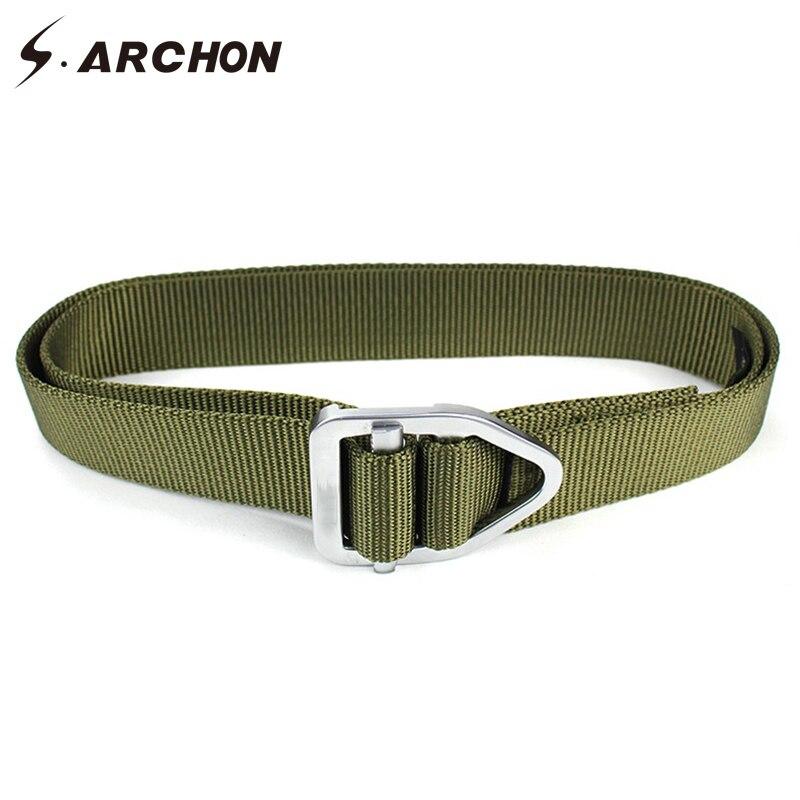 S.ARCHON Bullet Alloy Buckle Quick Dry Nylon Tactical Belts Men Heavy Duty Army Combat Waist Belt Military Belt For Casual Pants