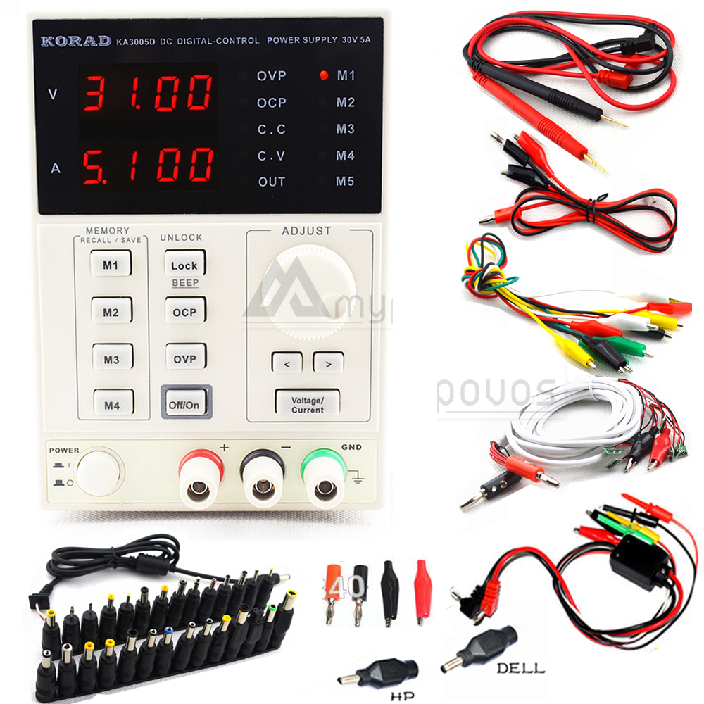 KORAD KA3005D Precision <font><b>Adjustable</b></font> Digital Programmable DC <font><b>Power</b></font> <font><b>Supply</b></font> Laboratory <font><b>Power</b></font> <font><b>Supply</b></font> <font><b>30V</b></font> <font><b>5A</b></font> +Laptop AC DC JACK Phone image