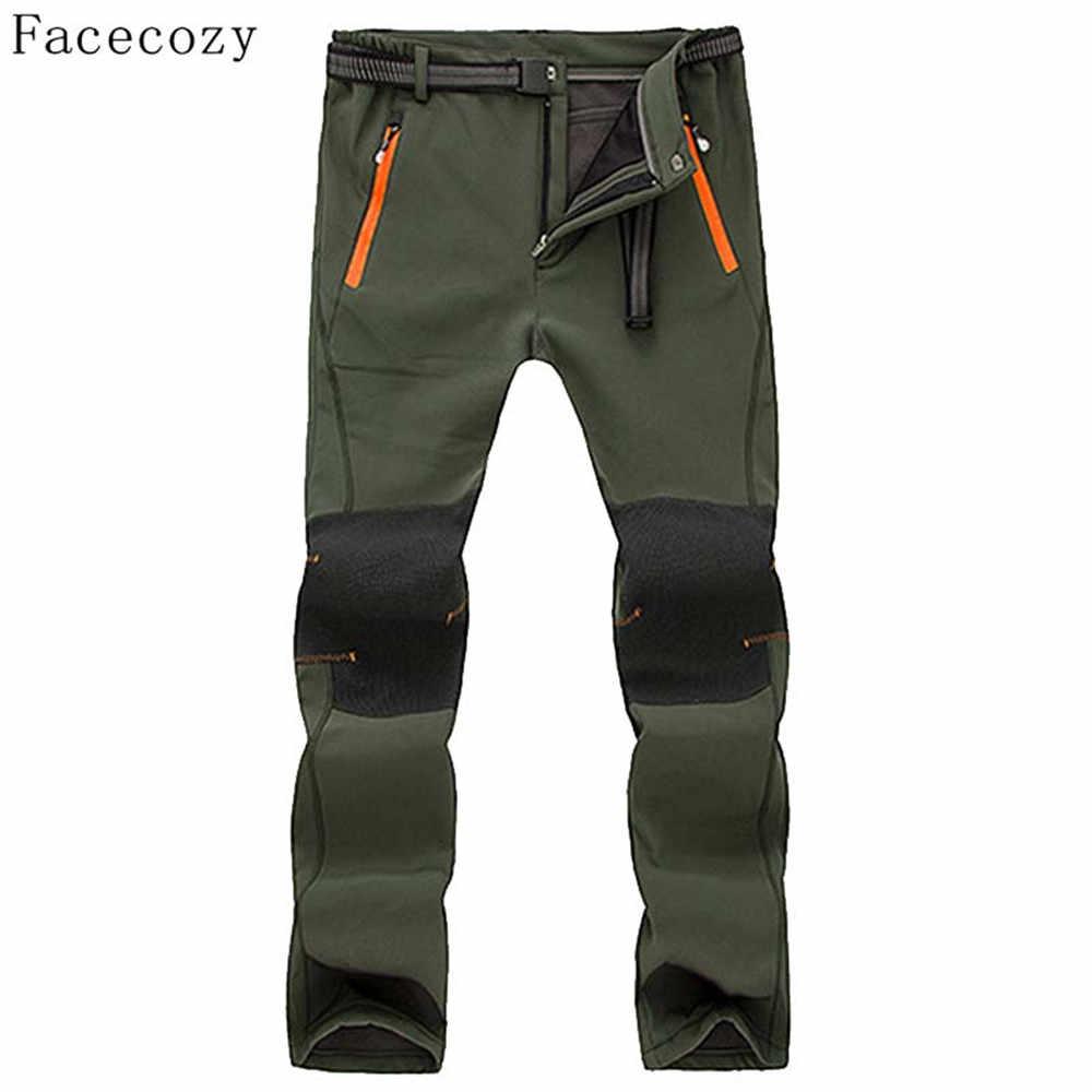 Facecozy 男性の冬の屋外インナーフリースパンツ秋男性防風ロッククライミングソフトシェルズボン
