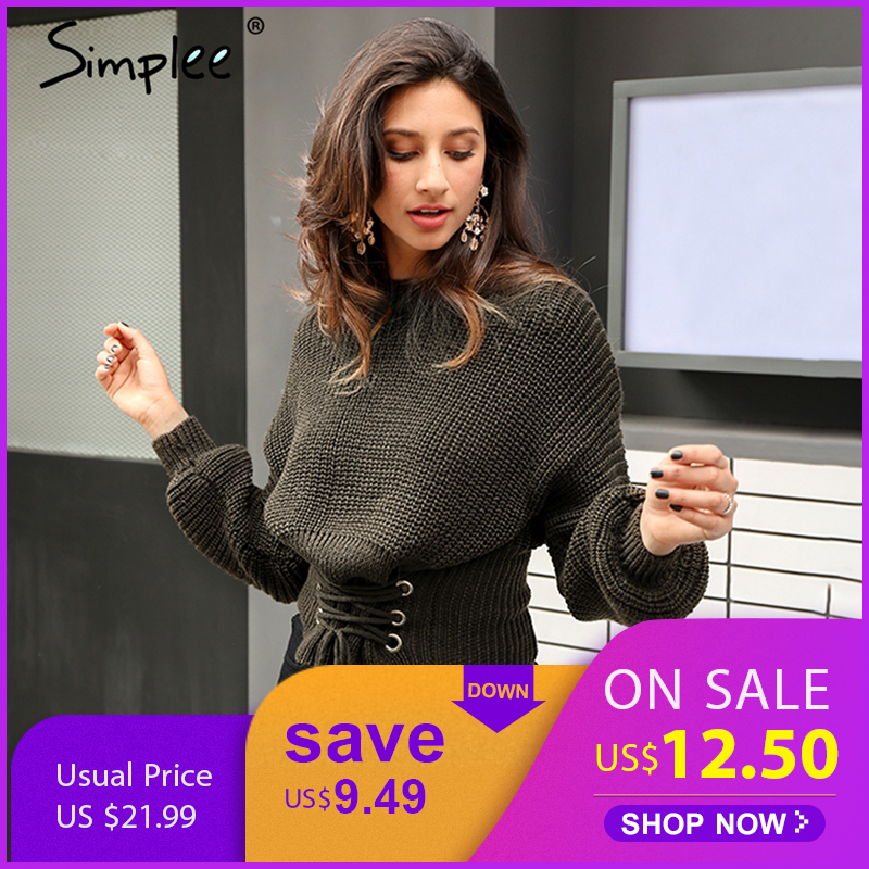 Simplee Lace up warm knitted pullover sweater Women black waistband long sleeve jumper Autumn winter 2017 knitting pull femme