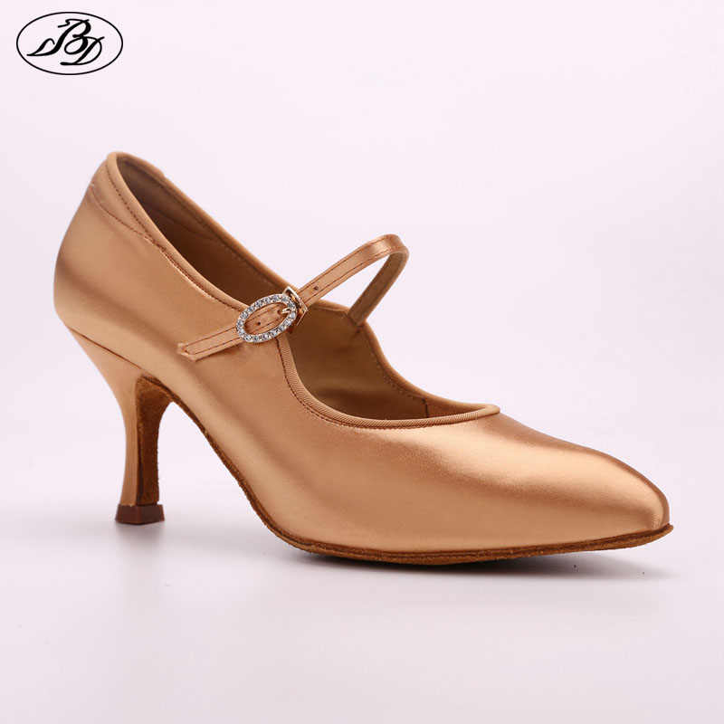 Wanita Ballroom Dance Shoes berlian buatan BD 137 MOON Tan Satin Wanita Heel Tinggi Dancing Kasut Anti-Slip Outsole Dancesport