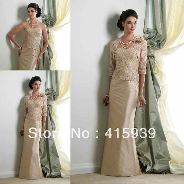 0e1e1219911 Elegant champagne sheath lace floor length long with jacket mother of the bride  dresses MQ032