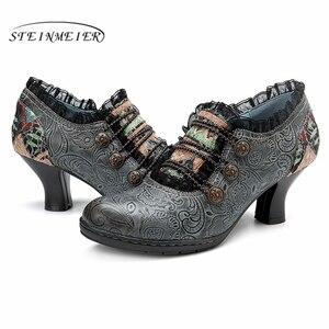 Image 5 - Zapatos de tacón informales de cuero de vaca auténtico para mujer, calzado oxford vintage hecho a mano, color gris, rojo y naranja, 2019