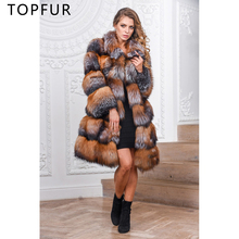 TOPFUR 2019 New Fashion Winter Female Coats Lapel Collar Real Fur For Women Natural Fox Outerwear & Long Loose