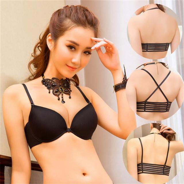 Moda sexy Back Multi sobreposição de corda sem encosto Reunir preto push up bra top bralette sutiãs para mulheres soutien desfiladeiro