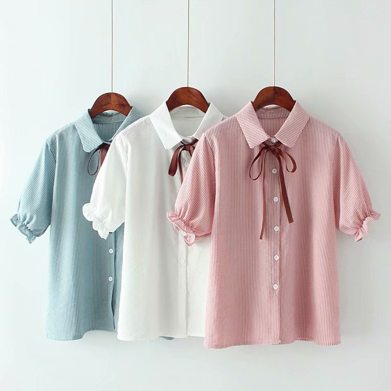 Japanese School Uniform Mori Girls Summer Japanese Style Short Sleeve Turndown Collar Blue White Pink Striped Bowknot Blouse Blouses & Shirts