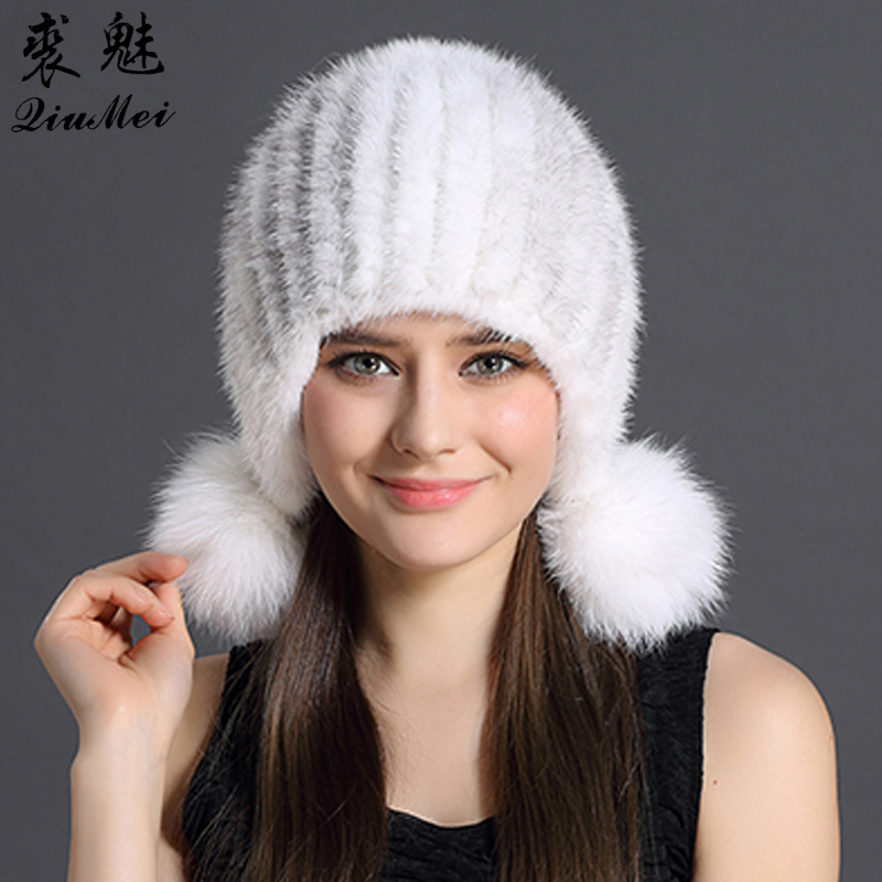 Real Mink Fur Hat Women Winter Hats Knitting Protected Ear And Head Cap With Cute Pompoms Russian Female Beanies Thick Mink Hats