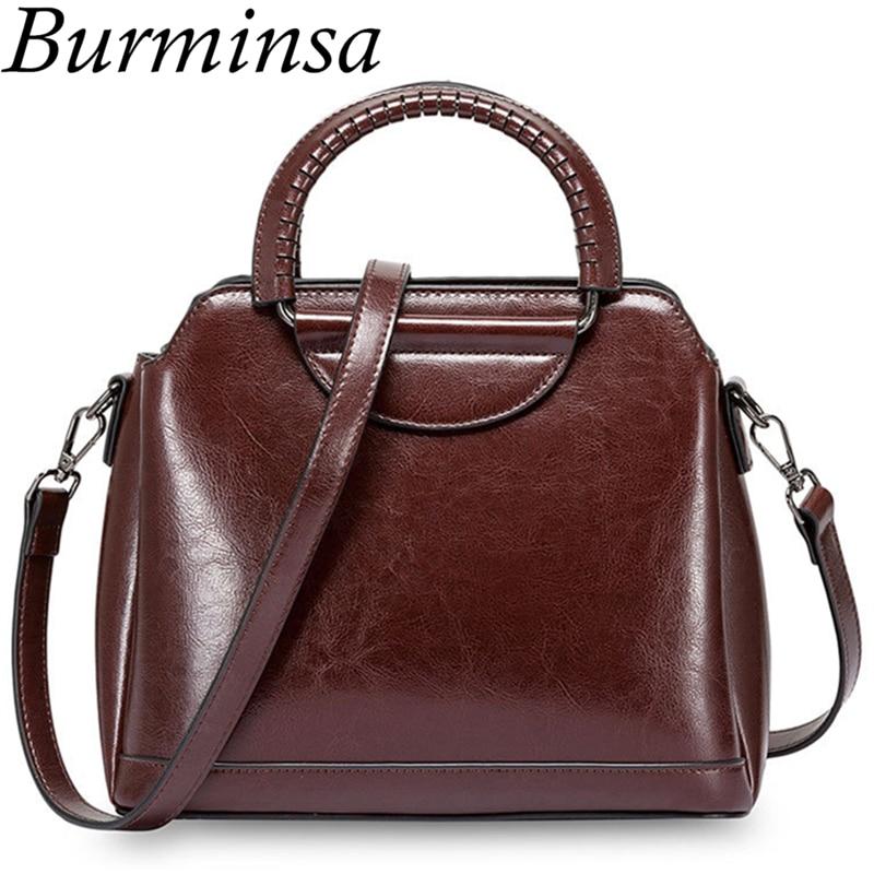 Burminsa Vintage Shell Women Genuine Leather Handbags Metal Handle Female Tote Bags Ladies Shoulder Messenger Bags