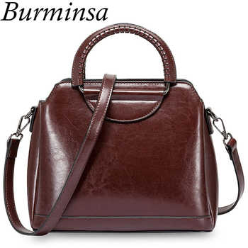 Burminsa Vintage Shell Women Genuine Leather Handbags Metal Handle Female Tote Bags Ladies Shoulder Messenger Bags Autumn 2019 - DISCOUNT ITEM  45% OFF All Category