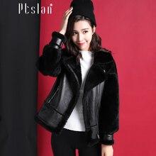 Ptslan 2016 Women s Real Lamb Fur Full Pelt Long Sleeve Jacket Long Coat