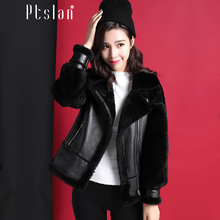 Ptslan 2016 Women's Real Lamb Fur Full Pelt Long Sleeve Jacket Long Coat