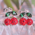 The Korean Version of the Cute Red Rhinestone Gold Plated Cherry Stud Earrings For Women High Quality Fashion Pendientes