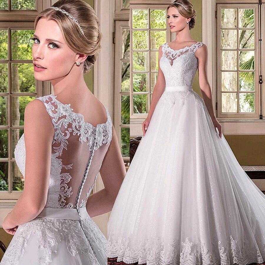 Romantic Tulle Scoop Neckline A-line Wedding Dresses With Beaded Lace Applqiques Bridal Dress vestido de noiva com manga