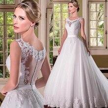 로맨틱 tulle scoop neckline a 라인 웨딩 드레스와 파란색 된 레이스 applqiques 신부 드레스 vestido de noiva com manga