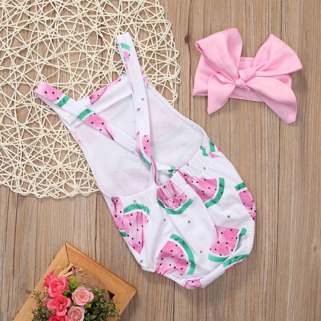 bdf8fa2c2b41 ... Summer Baby Girls Clothes Sleeveless Watermelon Infant Romper Backless  Halter Jumpsuit +Headband 2pcs Outfit Sunsuit ...