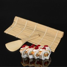 Bamboo Mat for Sushi Set Mold Onigiri Rice egg Roll Maker Roller Perfect Magic & 1x Spreader