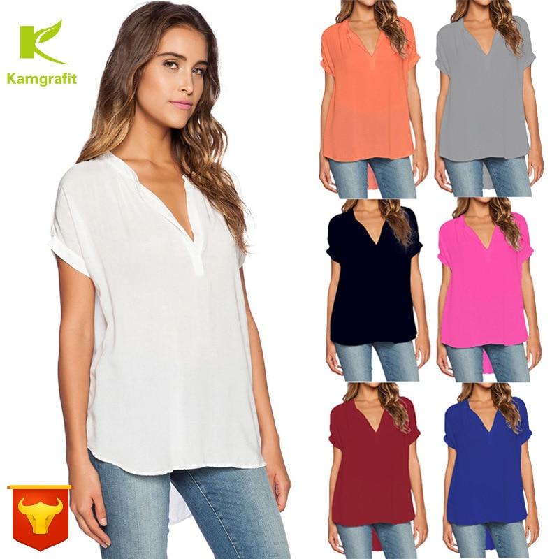 Summer Fashion New Women 2020 V-collar Short Sleeve Long Loose Chiffon Blouse Shirt  Plus Size  Ladies Tops  Ruffle Blouse QP004